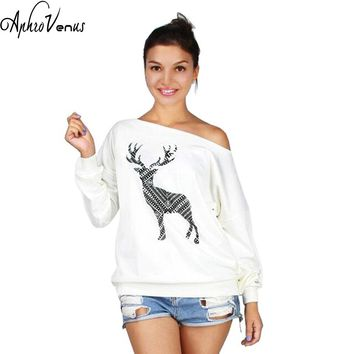 Autumn Winter Women Sweaters And Pullovers Thick Warm Female Pull Christmas Sweater Women Jumpers Deer Printed Plus Size 2017