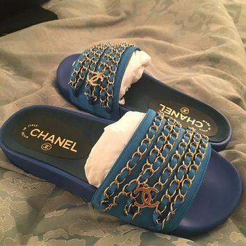 Chanel Trendy Premium Classic Slipper Sandals F Blue