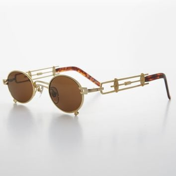 Small Oval Steampunk Vintage Sunglass with Intricate Temple Design - Darius
