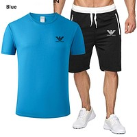 Giorgio Armani Summer New Fashion Letter Print Top And Shorts Two Piece Suit Sports Leisure Men Blue