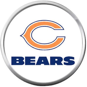 Da Bears Chicago NFL Logo On White Football Lovers Team Spirit 18MM - 20MM Snap Jewelry Charm