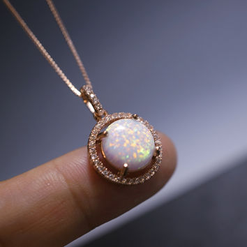 Rose Gold Large Opal Necklace Round Synthetic White Fire Opal Pendant