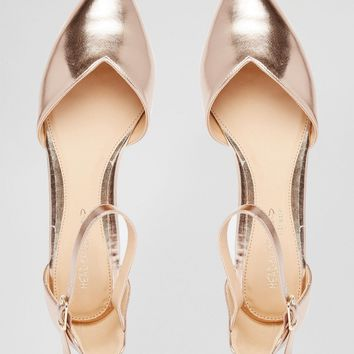 Head over Heels By Dune Hyrah Rose Gold Flat Shoes at asos.com