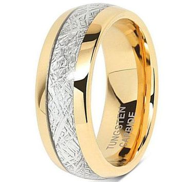 CERTIFIED 8mm Domed 18k Yellow Gold Tungsten Carbide Ring Meteorite Inlay Wedding Band