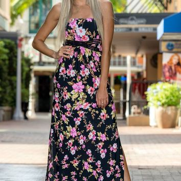 Tahitian Sunset Black Floral Braided Maxi Dress Shop Simply Me Boutique SMB – Simply Me Boutique