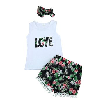 2017 Summer Baby Girl Clothes Sets Sleeveless LOVE Print Top + Tassel Ball Shorts + Hairand 3Pcs Kids Outfits Clothing Children