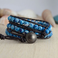 Rustic bohemian bracelet. Beaded blue brown wrap bracelet.