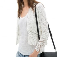 Crochet Lace Cardigan With Zip Front Pockets