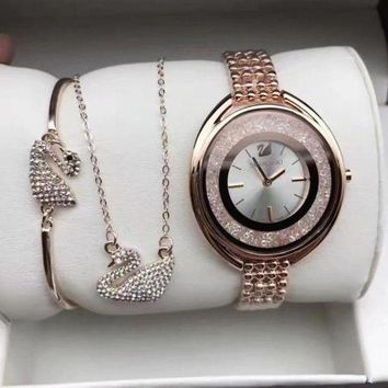 DCCKNQ2 Swarovski Women Fashion Diamonds Delicate Wristwatch Watch Necklace Bracelet Three Piece Suit-2