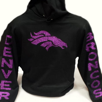 Broncos Glittery Unisex Hoodie , super shinny Purple sparkle wont flake Denver Colorado Women  will love it!!
