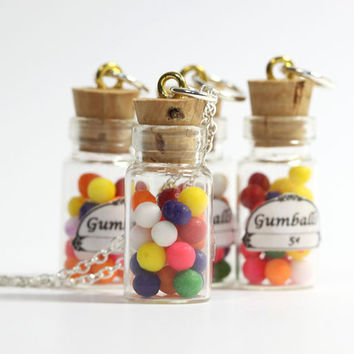 Miniature Gumball Necklace - gumballs in glass bottle vial pendant charm