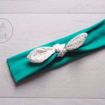 Aqua Green Knot Headband with WHITE dotted Bow Headband Knot Toddler Headband Head Wrap Baby Bow Headband Newborn Knot Headband