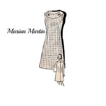 Vintage 60s Marian Martin Sheath Dress Pattern Sleeveless Neckline Band Details Mail Order 9083 Sewing Patterns Uncut Size 12 Bust 34