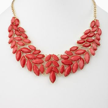 Fuchsia Enamel Leaf Bib Statement Neckalce/Earring Set