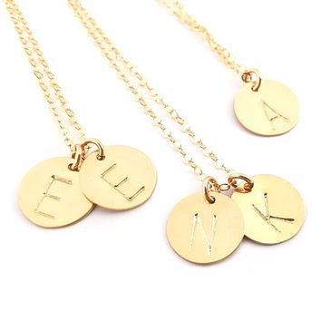Classic Gold Initial Disc Necklace