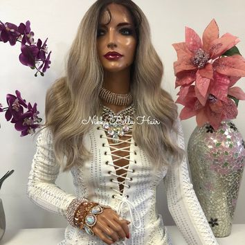 Blond Balayage Swiss Lace Front Wig 14 Inches   Deep Parting   Volume Waves Layered Hair   Melissa 1018 30
