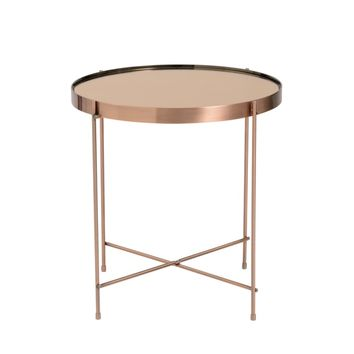 Trinity Round Copper Tinted Steel/Glass Side Table | Overstock.com Shopping - The Best Deals on Coffee, Sofa & End Tables