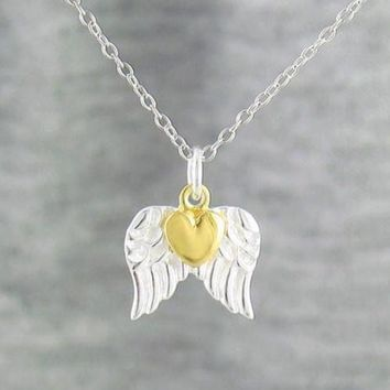 Heart of Gold Tiny Angel Wings Necklace in Sterling Silver