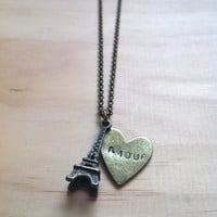 "Paris Eiffel Tower with Amour Heart ""French Love"" Necklace"