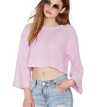 Bell Sleeves Knitted Cropped Top