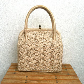 50s Crochet Bag, Grace Kelly Purse, Beige Corde Handbag, Woven Pearl Pouch, Wedding Bridal Purse, Ecru Lace Handbag, Silk Evening Clutch
