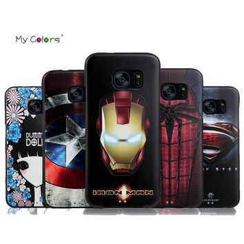Marvel Spiderman Batman Captain America for Samsung Galaxy S7 S7edge Soft Silicon 3D Stereo Relief Painting Phone Cases Cover