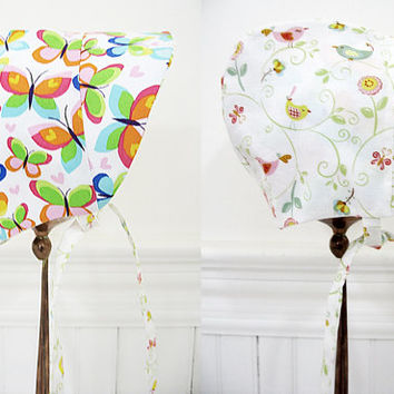 Reversible baby bonnet baby girl bonnet reversible sunbonnet baby shower gift new baby gift sun bonnet butterflies birds NB to 12 months