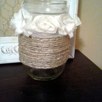 Twine wrapped Mason Jar with Lace Flowers...Mason Jars...Rustic Wedding...Wedding Decor
