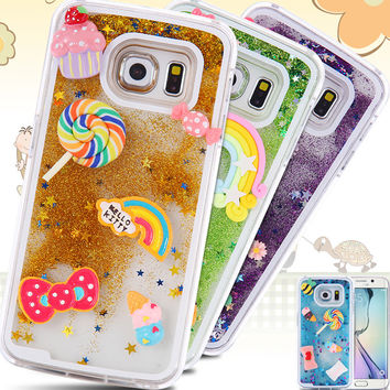 S6/Edge Capa Cute Liquid Glitter Quicksand Star Case For Samsung Galaxy S6 G9200/S6 Edge Bee Crystal Clear Cellphone Back Cover