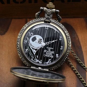 Bronze The Nightmare Before Christmas Coffin Quartz Pocket Fob Watch With Chain Necklace