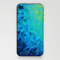 TRUE REFLECTION - Ocean Water Waves Ripple Light Impressionist Bright Colors Ombre Painting iPhone & iPod Skin by EbiEmporium | Society6