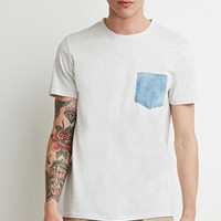Heathered Chambray-Pocket Tee