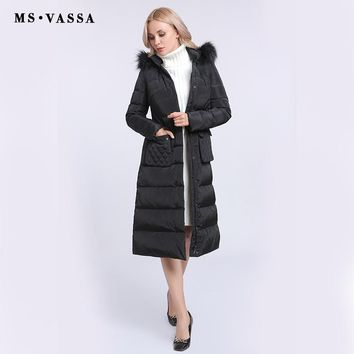 Women Down Jacket Ladies New Winter Autumn White Duck Down Long Coats Stand Up Collar Hood With Fake Fur