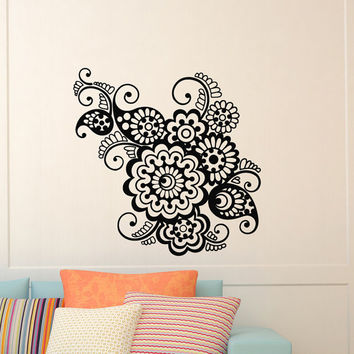 Wall Decal Vinyl Sticker Indian Pattern Yoga Flower Indie Mandala Wall Decals Murals Bedroom Dorm Yoga Studio Om Wall Art Home Decor Z843