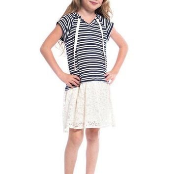 Girls Lace & Lines Hoodie Tunic/Dress