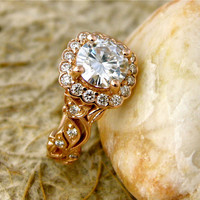 1.00 ct Forever Brilliant Round Moissanite Leaf Vine Engagement Ring in 14K Rose Gold Setting with Prongs and Diamonds