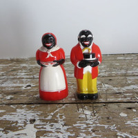 Black Americana Mammy Salt and Pepper Shakers Vintage Shakers Celluloid Shakers F & F  Aunt Jamima Mold and Die Works  Mammy Collectibles