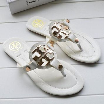 Tory Burch Stylish Ladies Simple Casual Sandal Slipper Shoes White I