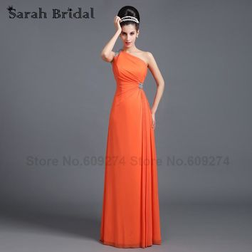 robe demoiselle d'honneur One Shoulder Long Bridesmaid Dresses Sexy Orange Lilac Champagne Maid of Honor Prom Dress Gowns SD268