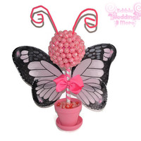 Pink Butterfly Lollipop Topiary, Pink, Lollipop, Candy, Centerpiece, Baby Shower, Butterfly,Candy Buffet, Butterfly Centerpiece, Birthday