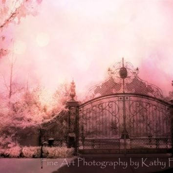 "Nature Photography, Dreamy Pink Gate Landscape, Surreal Fantasy Fairytale Pink Gate, Shabby Chic Pink Wall Art, Fine Art Photograph 8"" x 12"""