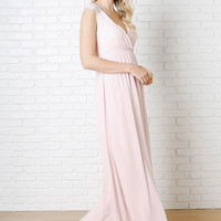 Blush Chiffon and Lace Gown