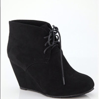 Black Wedge Booties