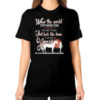 Beside horse Unisex T-Shirt (on woman)