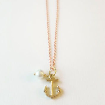 Delicate Anchor Necklace , Rose Gold Necklace , bff necklace , sibling necklace , boho wedding , Mermaid Necklace , Gift for mom