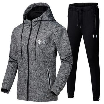 ONETOW Under Armour Casual Hoodie Top Sweater Pants Trousers Set Two-piece Sportswear Grey Tagre?