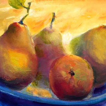 "Still Life Fruit Pears Unframed 8""H x 10""W - Original Oil Painting by Tina Wassel Keck - Oil on canvas on panel - ""Room For One More?"""