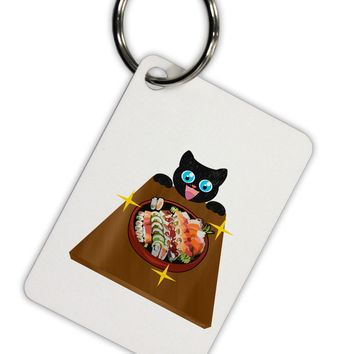 Anime Cat Loves Sushi Aluminum Keyring Tag by TooLoud