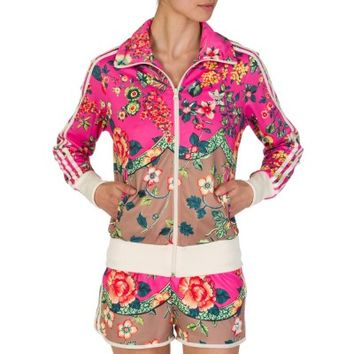 Adidas Pink Floral Print Tracksuit Jacket
