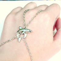 Shark Bracelet Ring Silver Slave Bracelet Shark Jewelry Ring Bracelet Hand Harness Beach Jewelry Summer Accessories